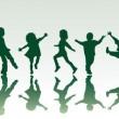 Five children silhouettes