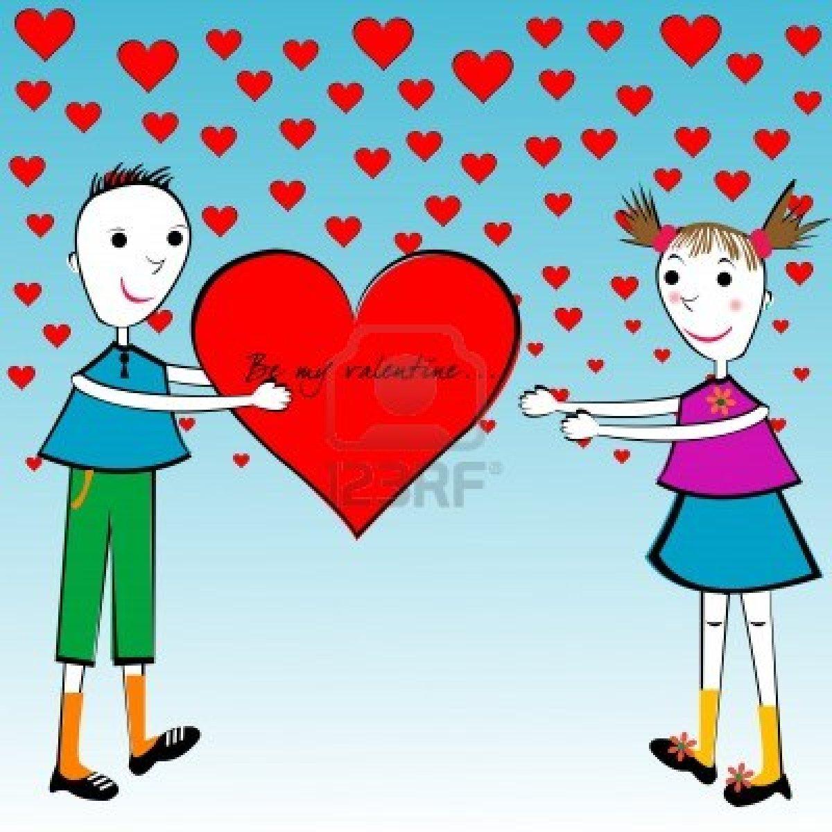 Carta cartone animato di san valentino con bambini